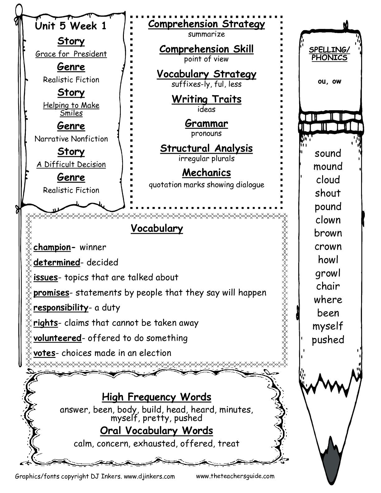 Wonders Unit Five Week One Printout Weekly Outline