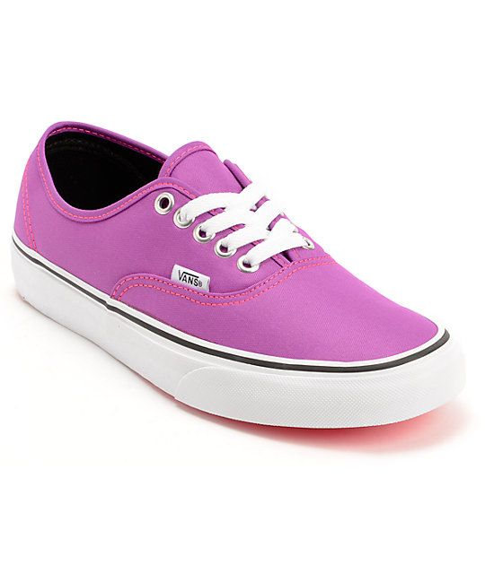 7a91a005eab5 Add some eye poppin  color to your footwear collection with the Vans  Authent Neon Purple shoes for girls. These shoes have a timeless low top  silhouette in ...