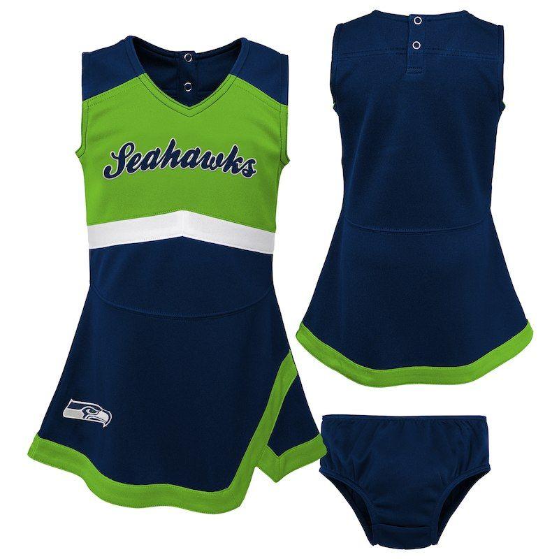 Seattle Seahawks Girls Infant Cheer Captain Jumper Dress – College Navy Neon  Green e3d72879f