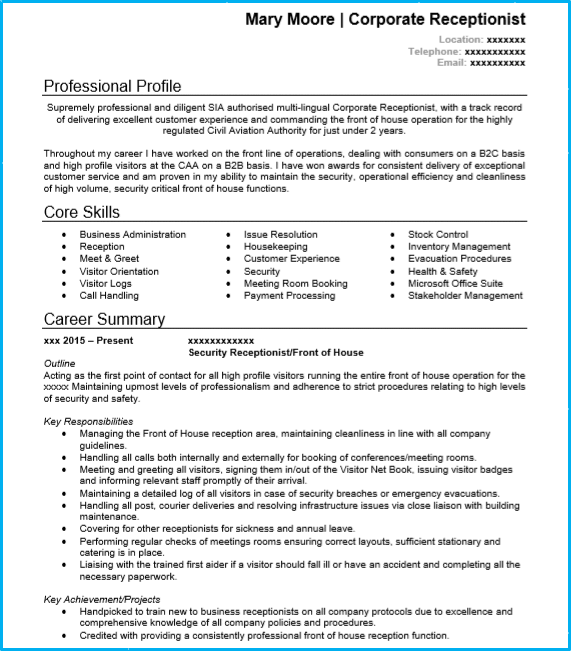 receptionist cv example page 1  create a stand out