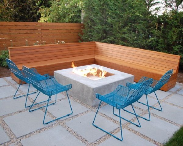 Backyard · Modern L Shaped Wooden Outdoor Patio Bench