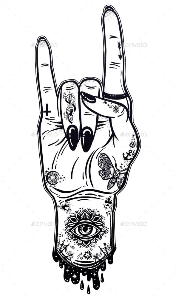 Raised Inked Hand As A Rock And Roll Sign Gesture By