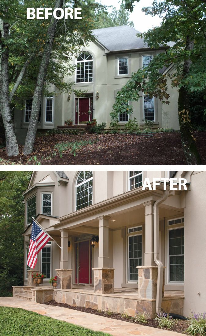 a flat faced stucco home receives an amazing transformation with a beautiful front porch. Black Bedroom Furniture Sets. Home Design Ideas