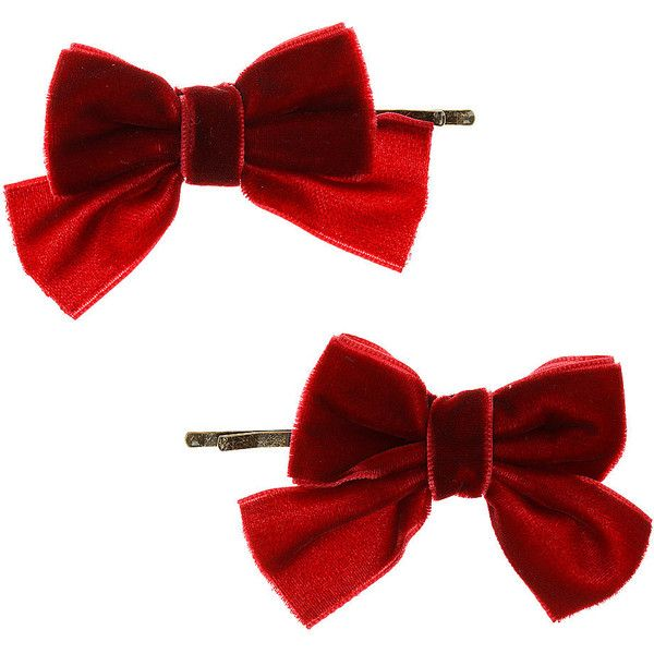 Velvet Bow Clips (27 BRL) ❤ liked on Polyvore featuring accessories, hair accessories, hair, bows, cabelo, women and bow hair accessories