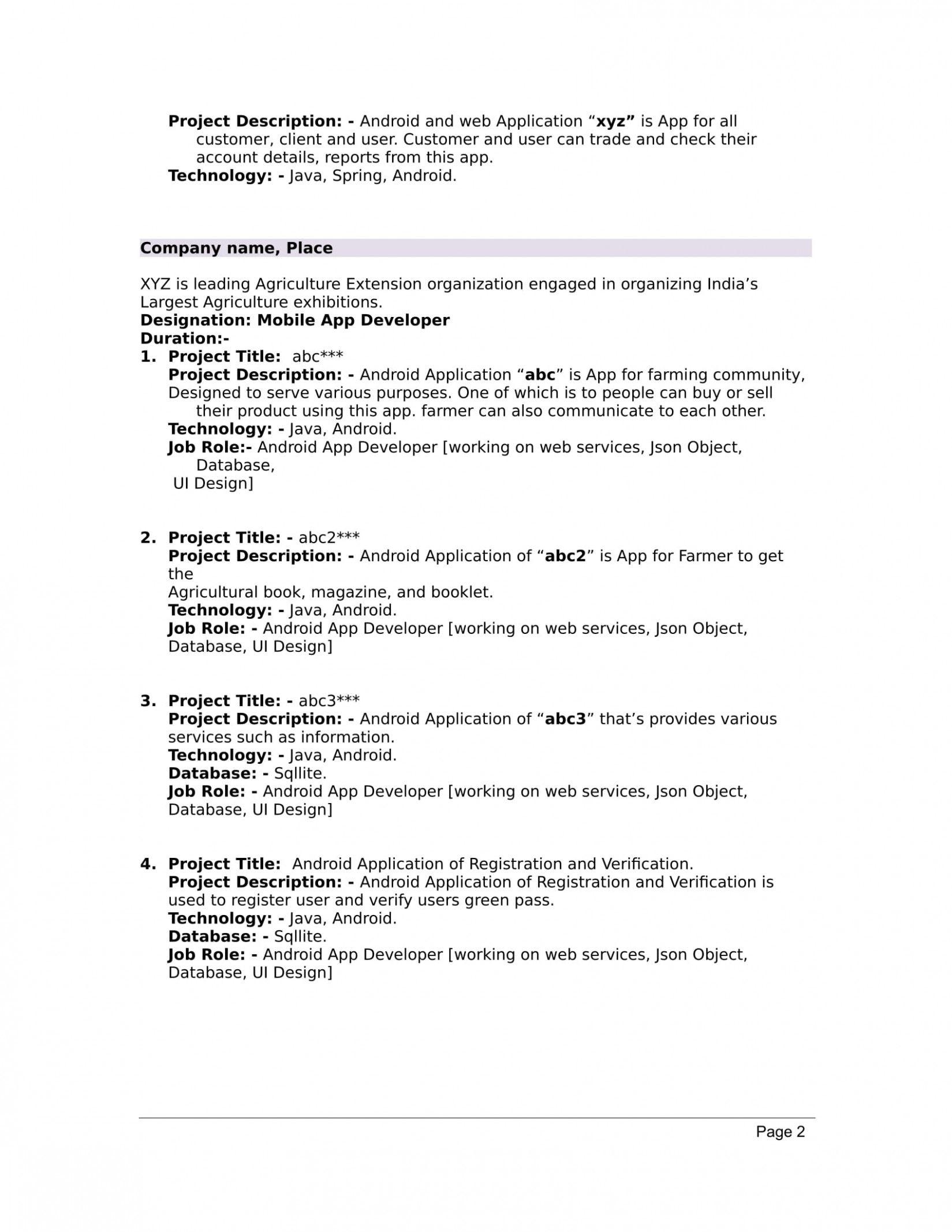 Create Resume Free For Freshers