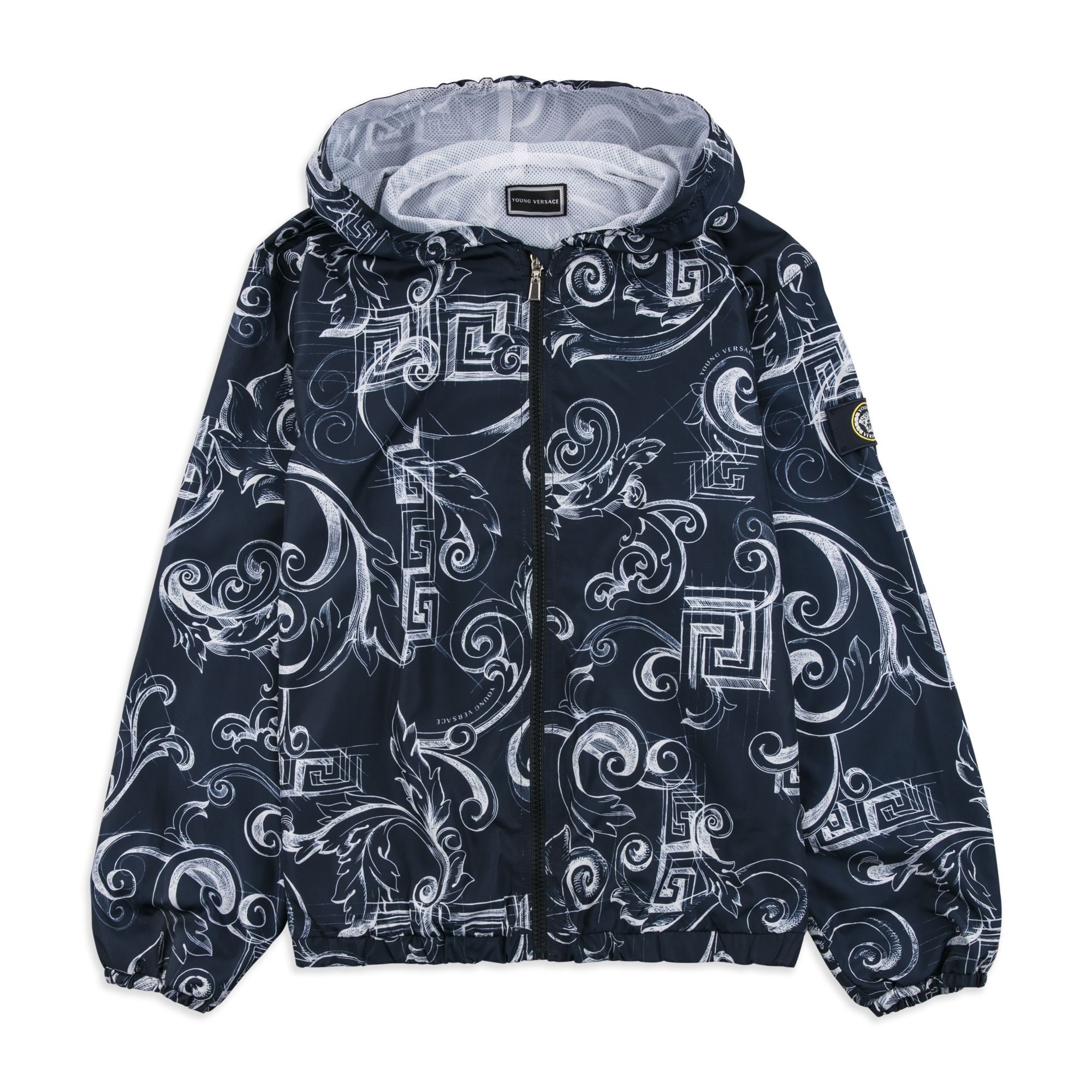 8eb95600872e YOUNG VERSACE Boys Baroque Rain Jacket - Navy Boys hooded jacket •  Lightweight woven fabric • Water-repellent • Mesh lining • Full zip  fastening ...