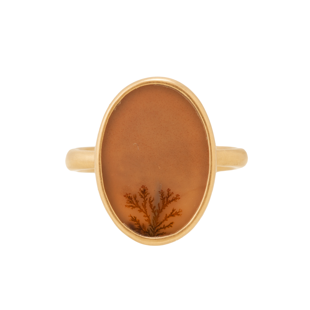 LOLA BROOKS 14K YELLOW GOLD RING W/ OVAL DENDRITIC AGATE