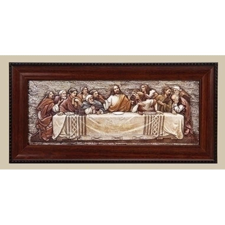 7 St. Joseph's Studio Religious Inspirational The Last Supper Plaque with Frame, Brown
