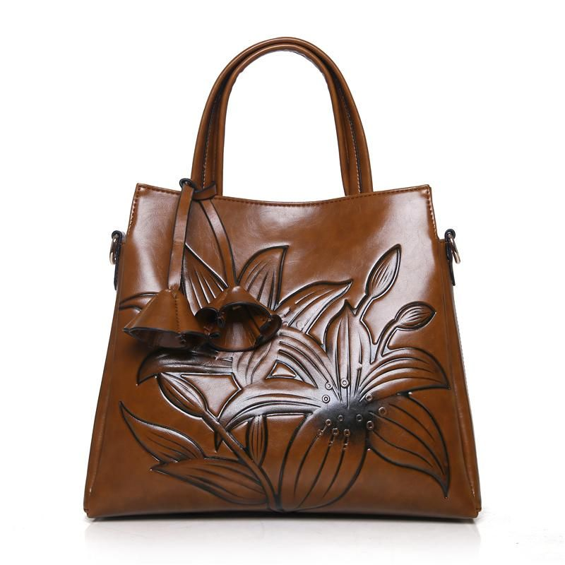 Embossed Flower Faux Leather Ladies Shoulder Bag Classic Casual