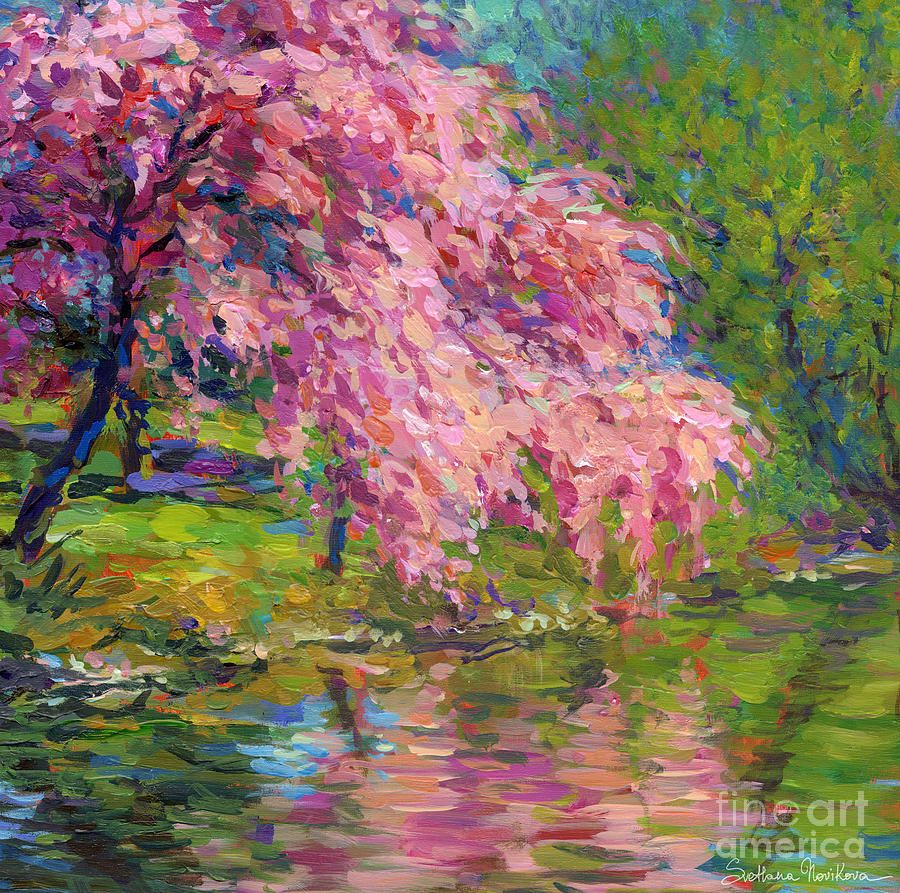 Blossoming Trees Landscape By Svetlana Novikova Landscape Paintings Art Painting Landscape Art