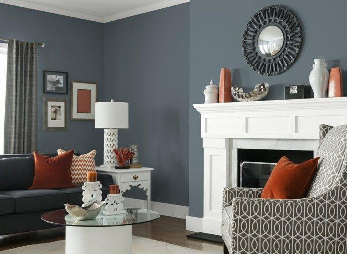 wohnzimmer grau mit weißem teppich und modernem runden couchtisch - modernes wohnzimmer grau