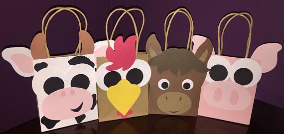 Set Of 20 Barnyard Party Favor Gift Bags Farm Animals