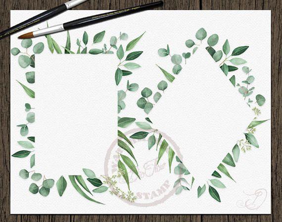 Watercolor Eucalyptus Clipart Frame Greenery Frames Clip Art ...
