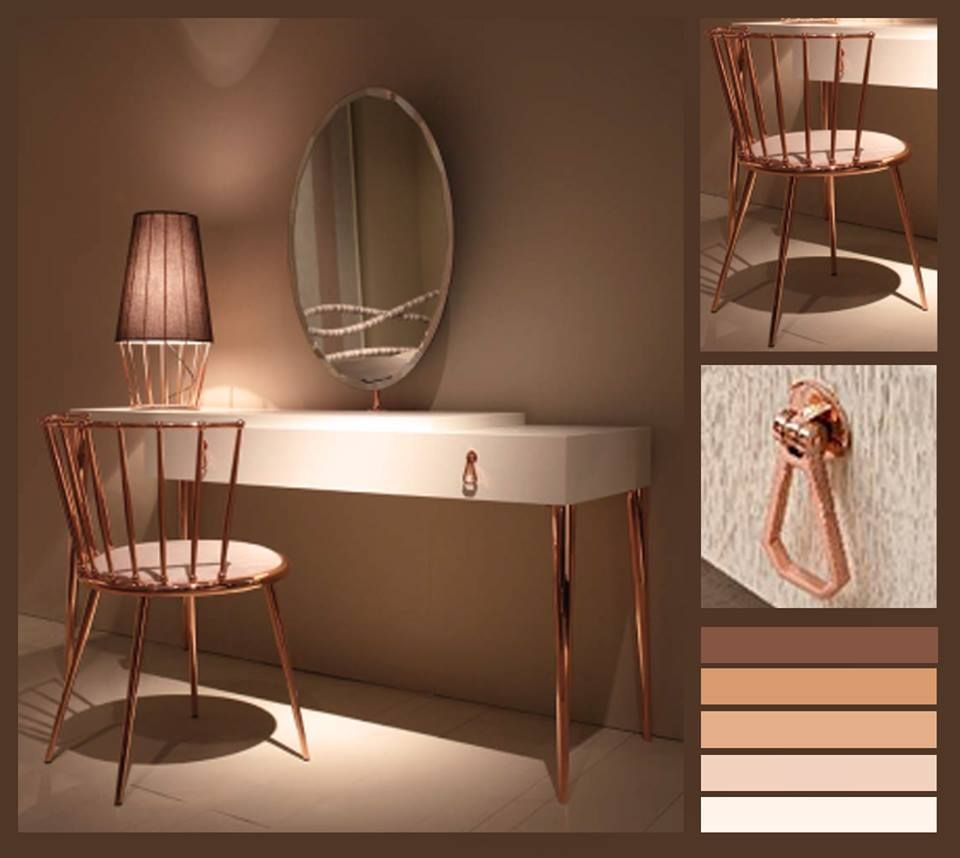 Our best selling dressing table from cantori in italy city modern vanity table with mirror copper legs table lamp copper chair geotapseo Image collections