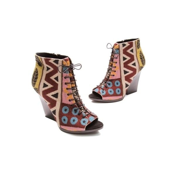 0ee3db532e9 Pre-Owned Burberry Multicolor Tapestry Lace-Up Peep Toe Booties ( 406) ❤  liked on Polyvore featuring shoes