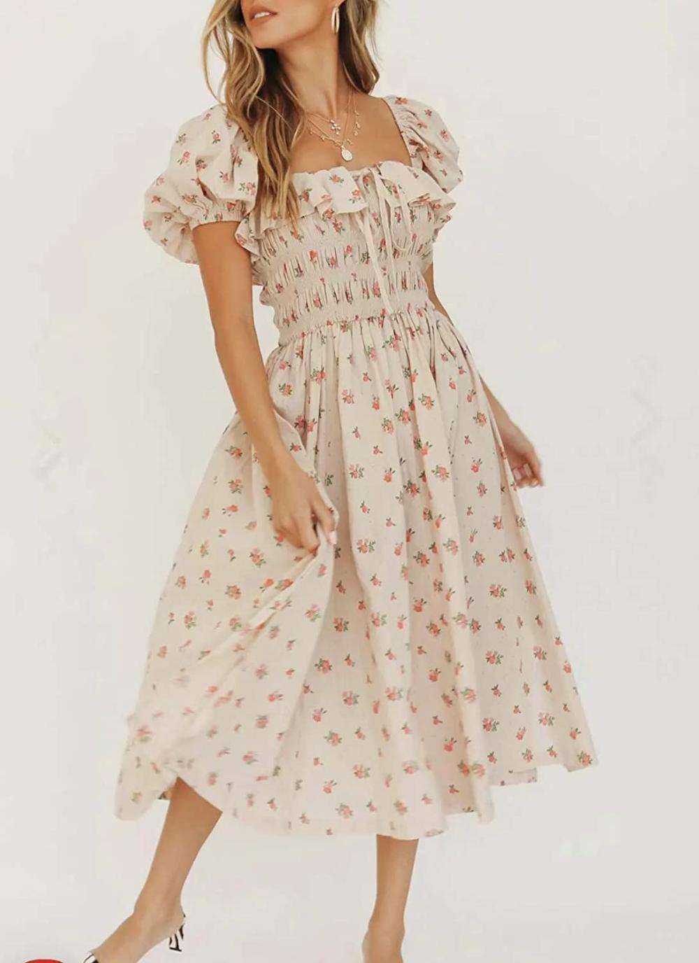 Amazon Com R Vivimos Womens Summer Floral Print Puff Sleeves Vintage Ruffles Midi Dress Medium Beige Cottagecore Fashion Ruffle Midi Dress Midi Ruffle Dress [ 1376 x 1000 Pixel ]