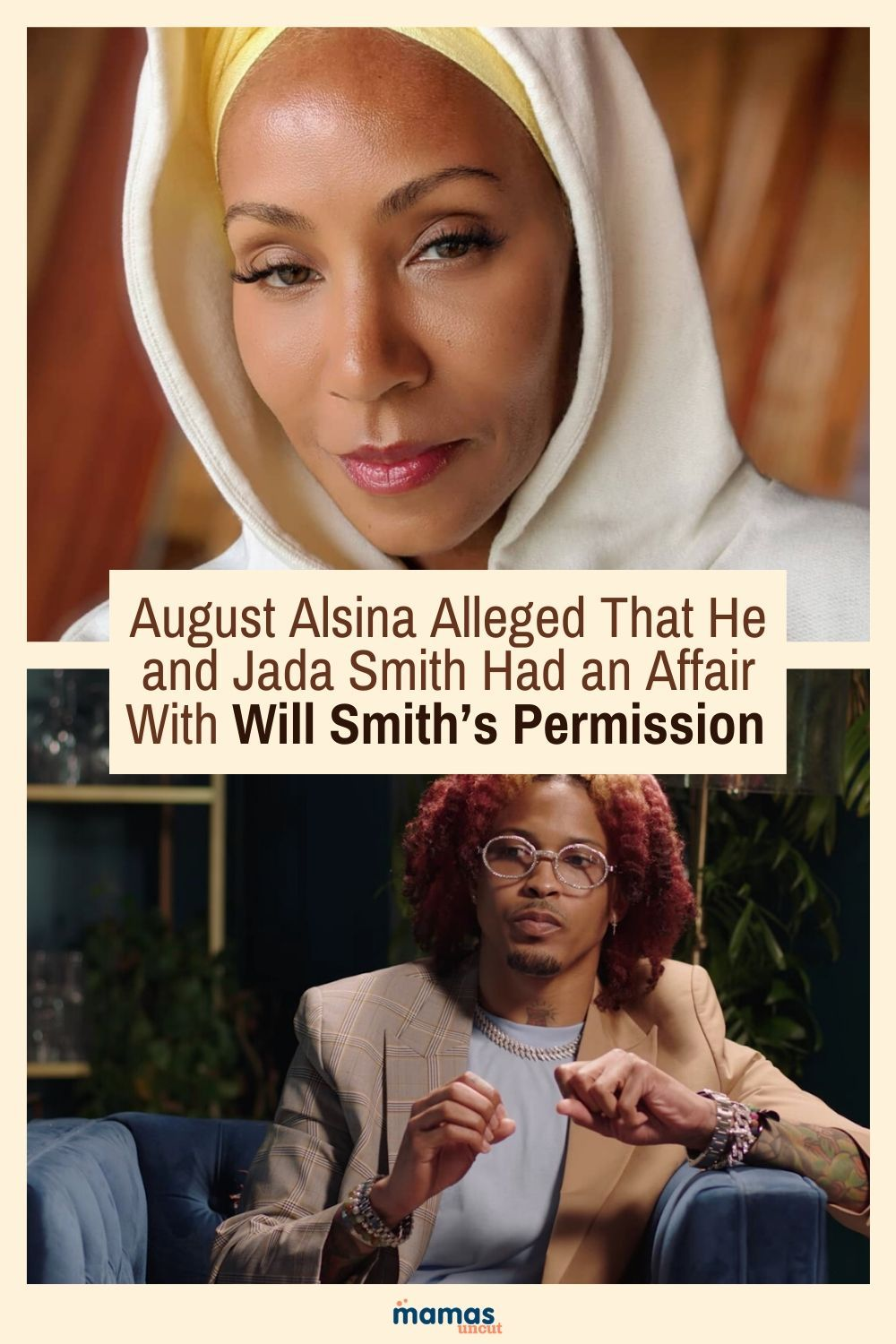 August Alsina Claims He and Jada Pinkett Smith Had Affair  R&B singer August Alsina is speaking out about his alleged affair with Jada Pinkett Smith, saying that he had Will Smith's permission.  #willsmith #jadapinkettsmith #Augustalsina