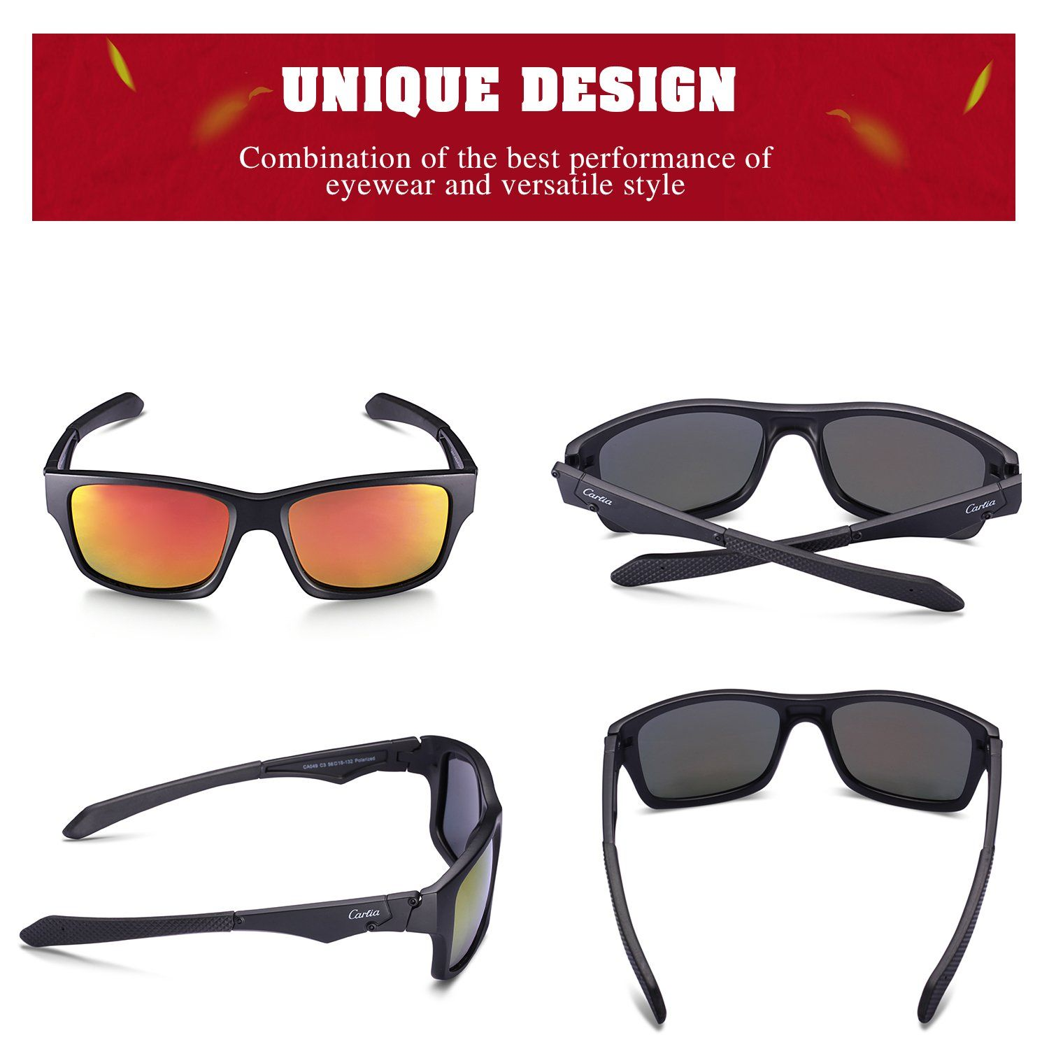 ab0ee947a4d Carfia Sports Sunglasses UV400 Polarized Sunglasses for Mens Womens Driving  Running Fishing Golf TR90 Unbreakable Frame