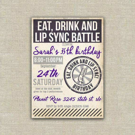 Lip Sync Battle party invitation, Karaoke  { DETAILS }  This - invitation wording for mystery party