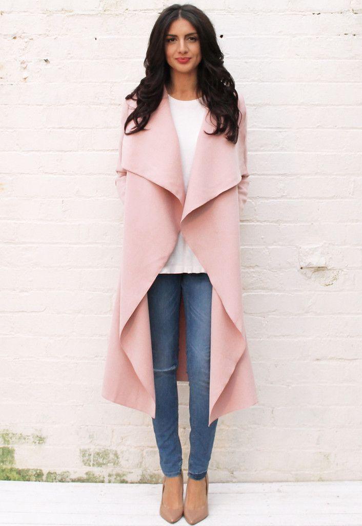 Premium Felt Waterfall Drape Flo Throw On Coat in Soft Pink
