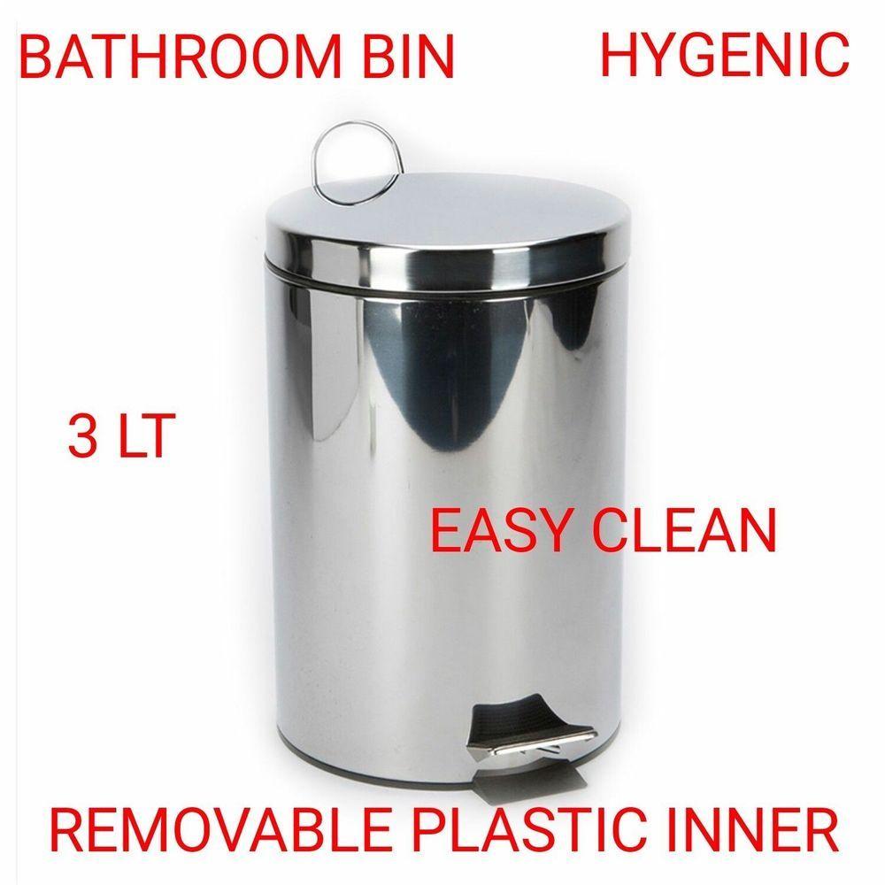 3 Litre Pedal Bin Kitchen Bathroom Waste Rubbish Stainless Steel ...