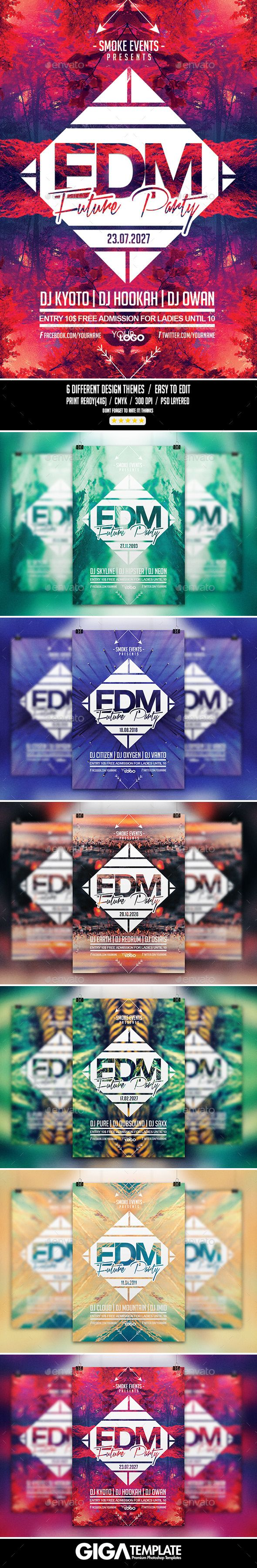 EDM Futuristic Music | Night Flyer PSD Template (CS, 4x6