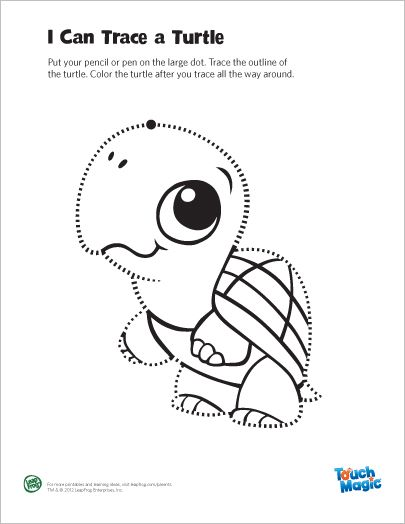 LeapFrog Printable: Turtle Tracing Page- Trace and color