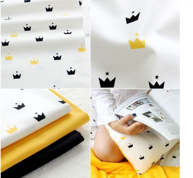Moderne Kissenbezüge tiara fabric crown fabric scandinavian fabric black white fabric