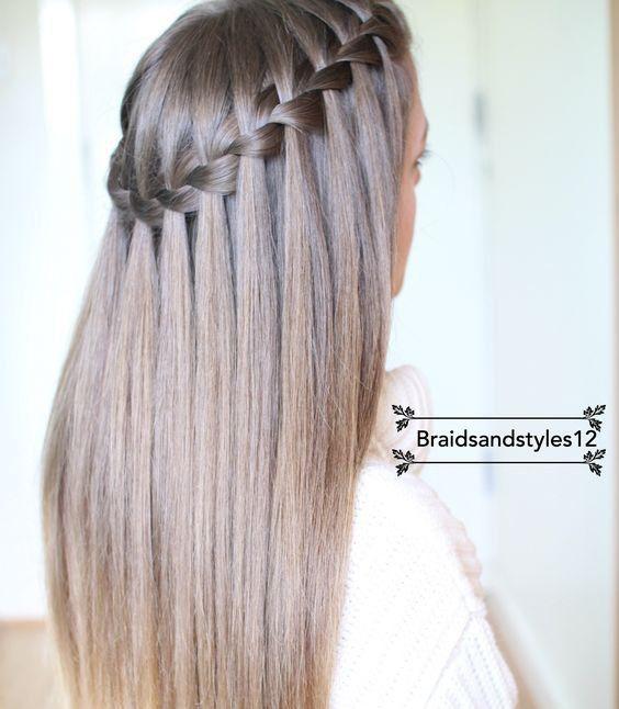 La Tresse Cascade Sur Cheveux Lisses En 2019 Coiffure