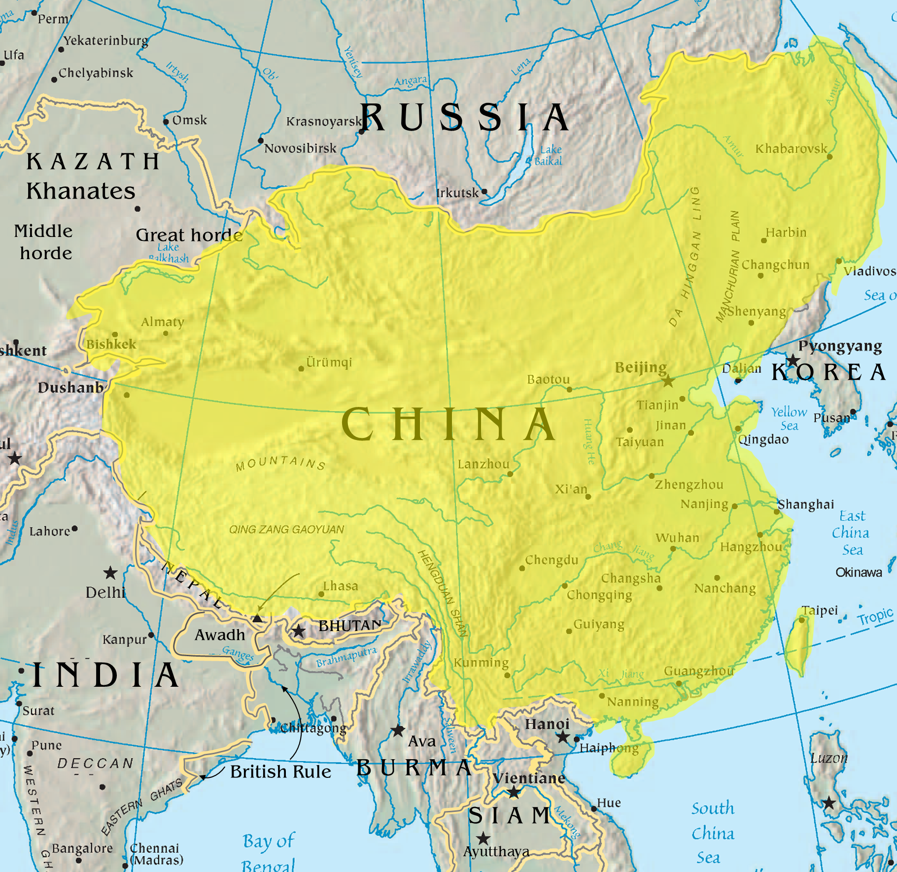 Map Of The Qing Dynasty China Including Some Parts That Are Now - Map teardrop from russia to us