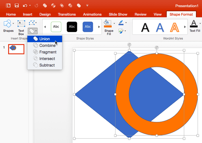 Shape Union Command in PowerPoint 2016 for Mac | PowerPoint
