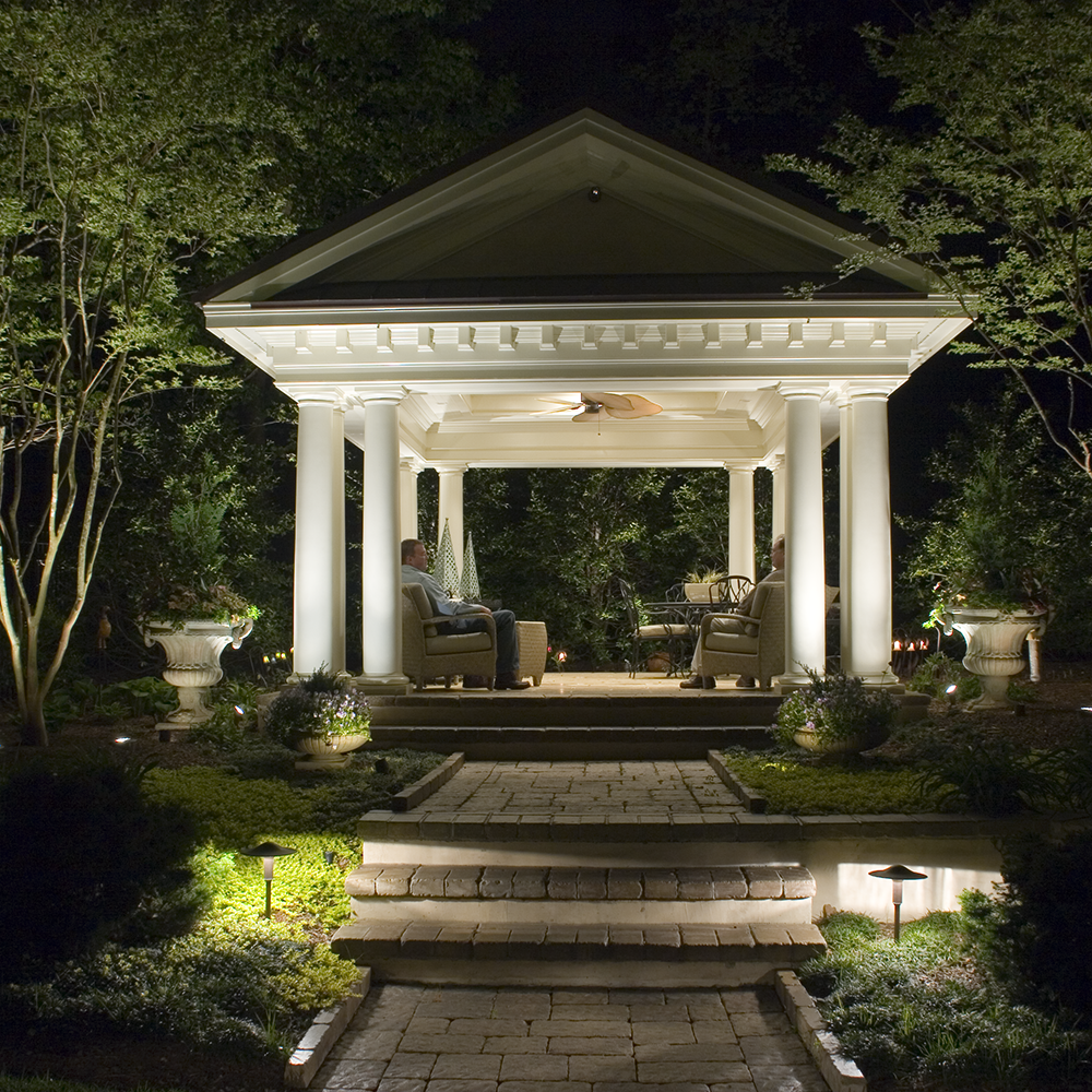 Stately yet airy pergola perfect for outdoor livingday or night stately yet airy pergola perfect for outdoor livingday or nightwith landscape lighting fixtures used cast classic well lights cwlwfl cwlwfllead workwithnaturefo