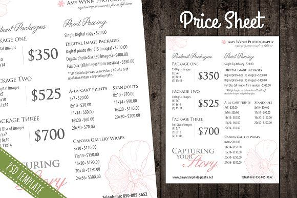 Price List Template  Pricing Sheet By Studio On Creativemarket
