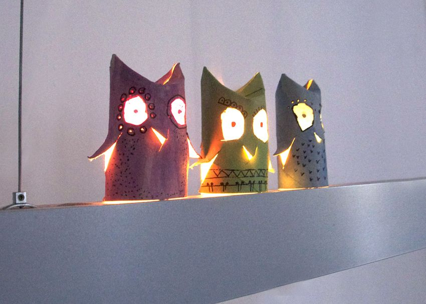 luminaires hiboux en rouleau de pq noel pinterest rouleaux luminaires et lanterne. Black Bedroom Furniture Sets. Home Design Ideas