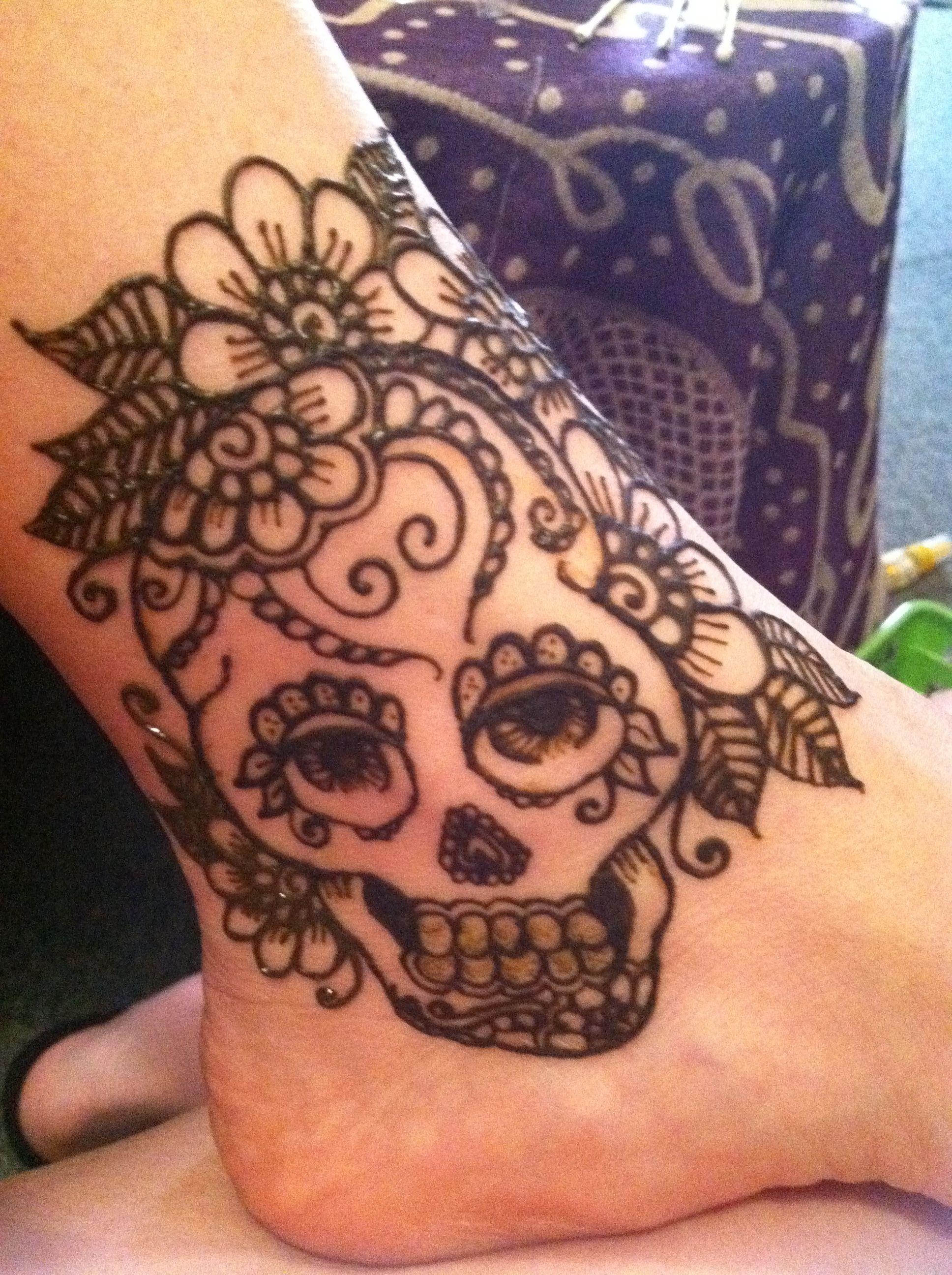 Skull Henna Tattoo: My First Sugar Skull *Copyright Harris' House Of Henna