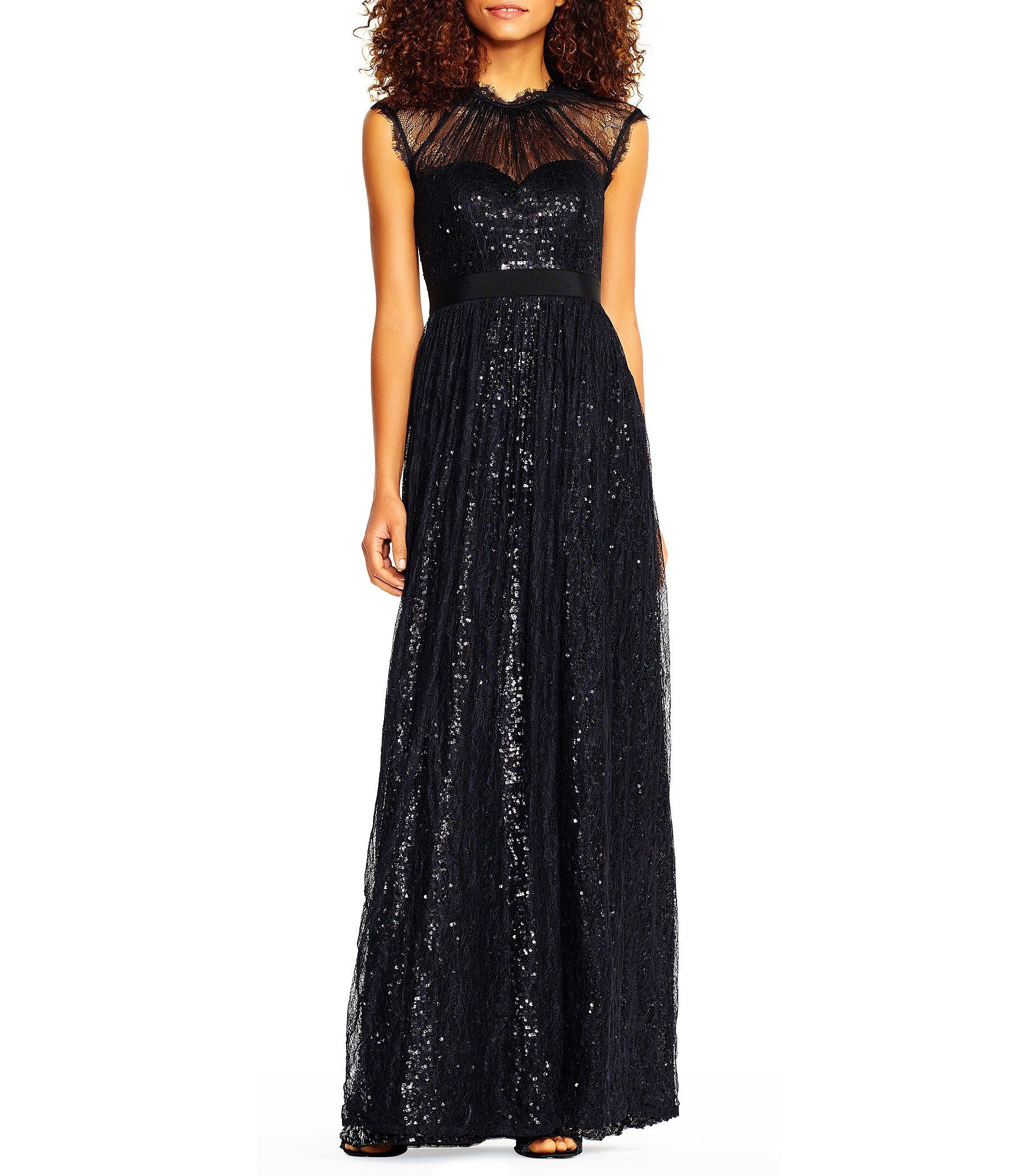 Adrianna papell sequin mesh lace gown dillards special occasion