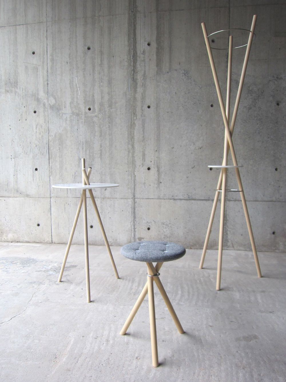 Stick And Twist Table Stool And Coat Hanger Wood Furniture  # Meuble Tv Nolita