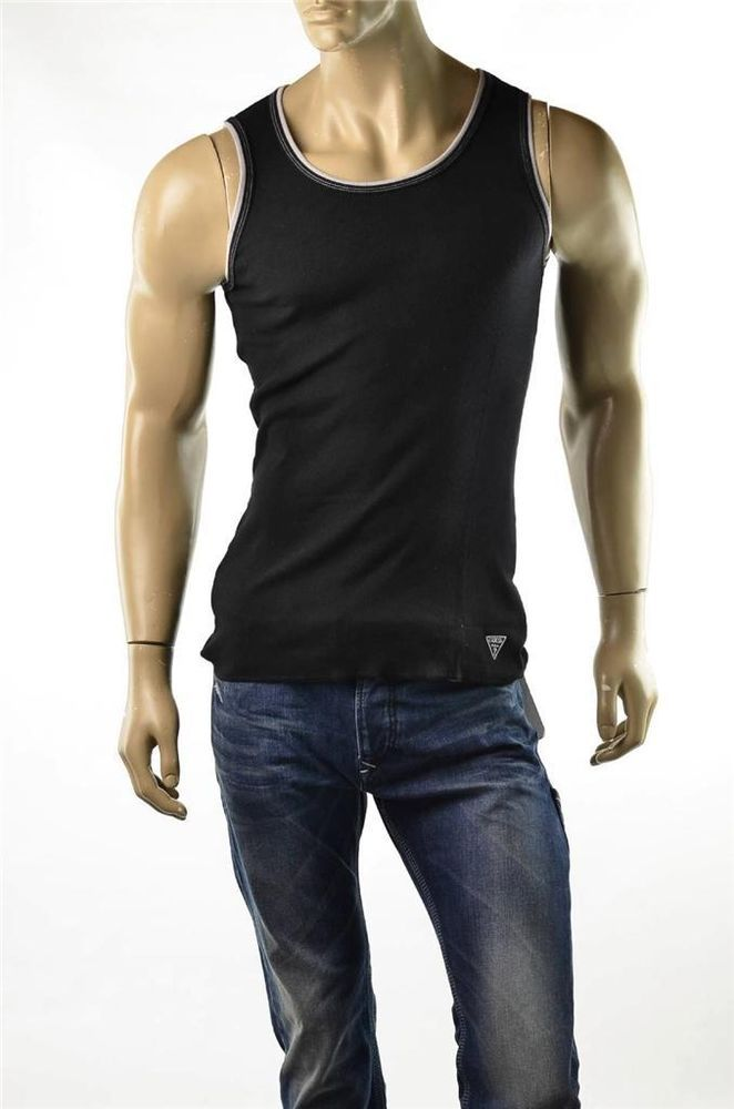 31248a316eb32c Guess Black Tank Top T-shirt Mens Ribbed Cotton Bro Shirts NWT Shirt Sz M  Medium  Guess  Tank  5Gables