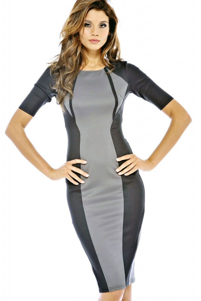 f517e91061eb1 Gray Panel Body-shaping Colorblock Midi Dress | color blocking ...