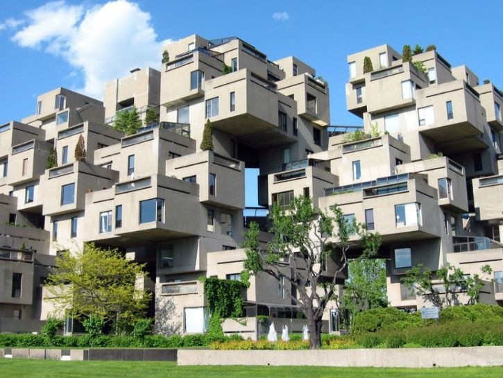 Habit 67, built by MMoshe Safdie. This was actually his Master's thesis in architecture and debuted at the 1967 World's Fair.
