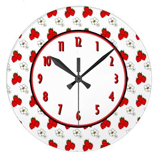 ErdbeerBlumen-Retro Küchen-Wand-Uhr Große Wanduhr | Pinterest ...