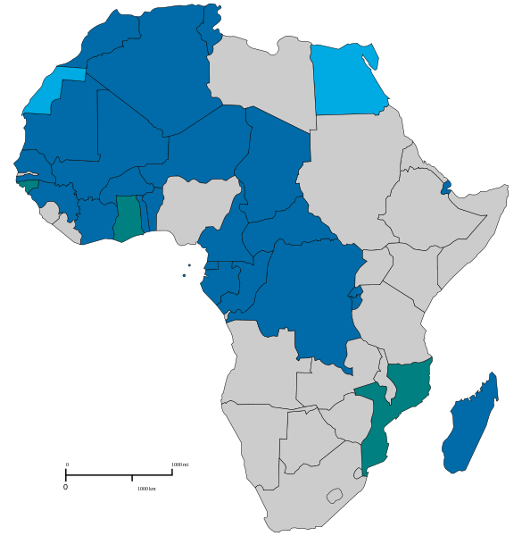 Map Of Francophone Africa.Map Highlighting Francophone Africa Francophonie Africa