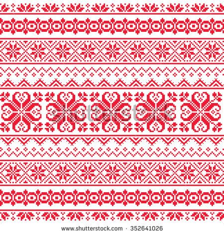 Ukrainian, Belarusian red embroidery seamless pattern - Vyshyvanka ...