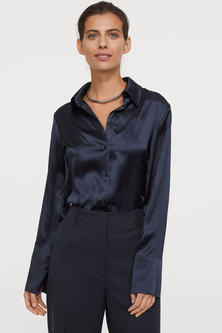 Silk Shirt – Dark blue – Ladies | H&M US