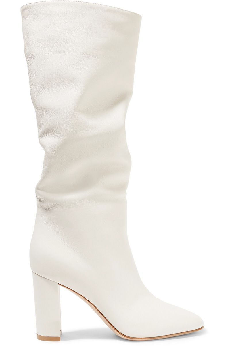 Fall S Best White Boots To Shop At Every Price Point Trending Boots Leather Knee Boots White Knee High Boots