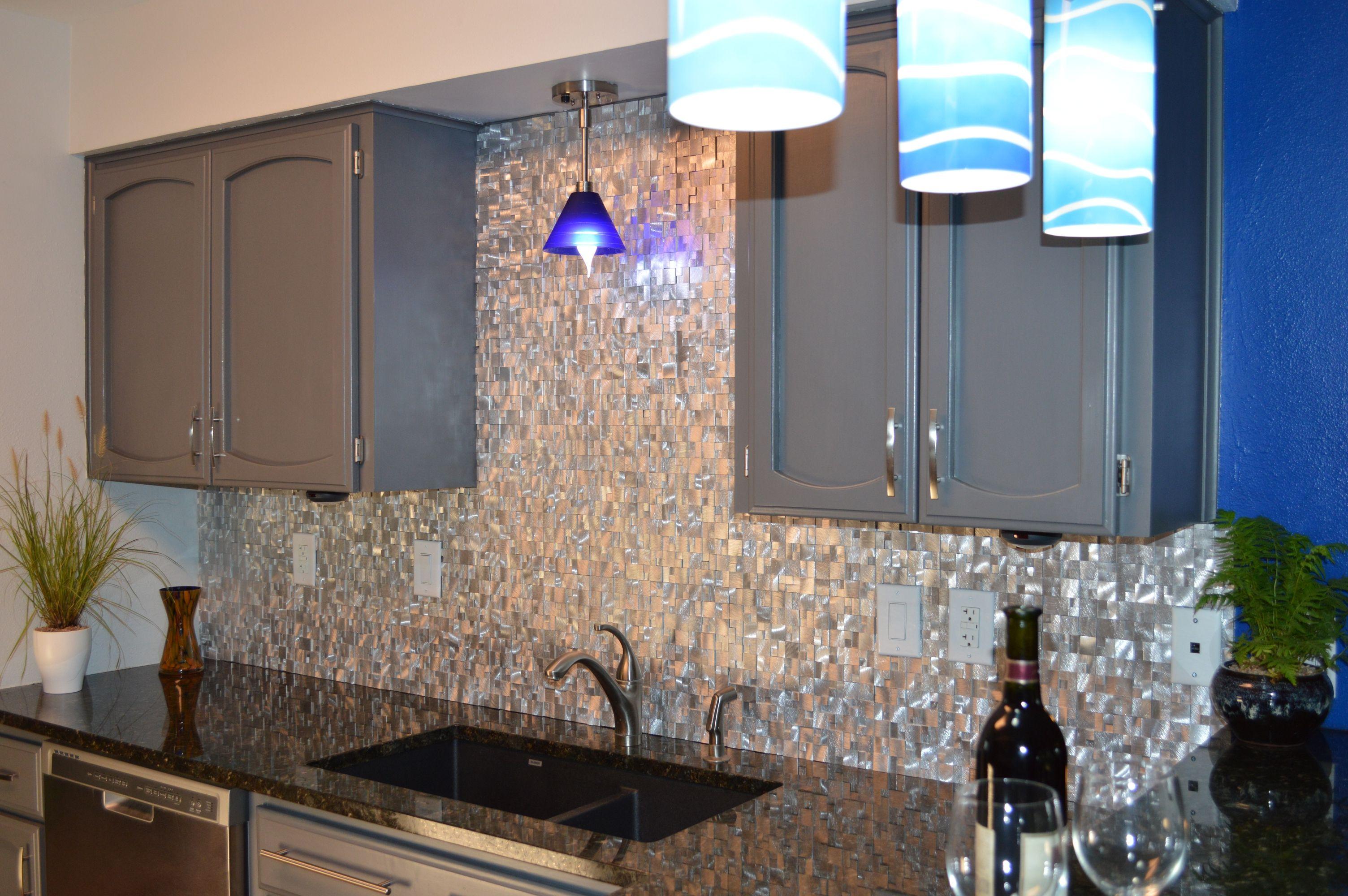 Cobblestone Backsplash 3d raised cobblestone pattern aluminum mosaic tile - emt_al10-sil