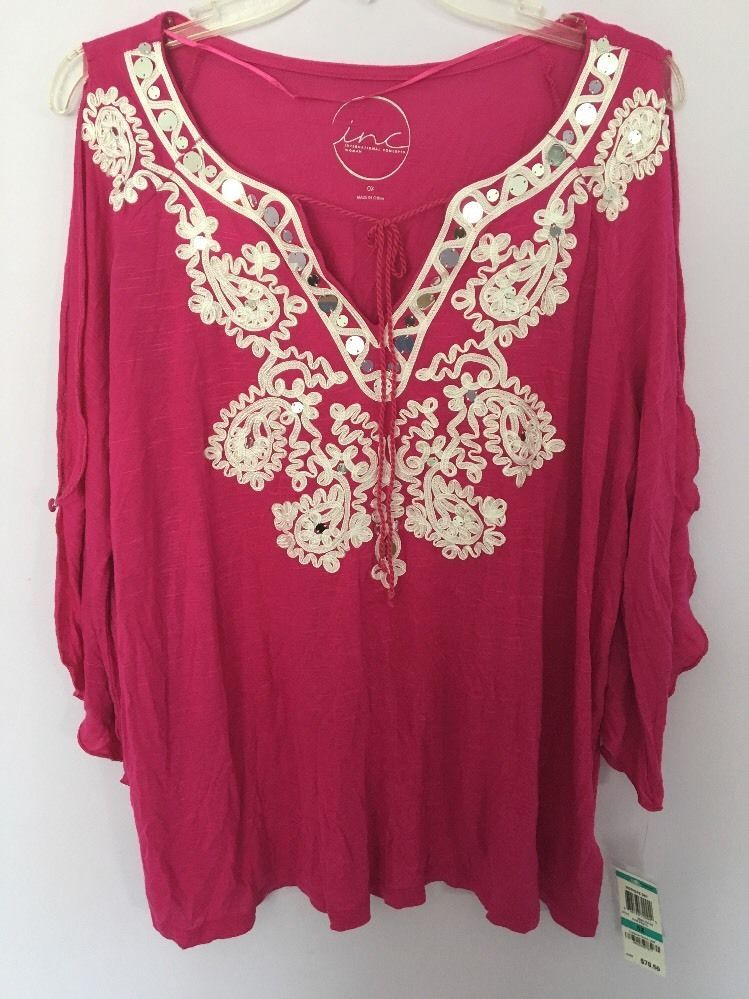 MSRP $79.50 INC NEW Womens Pink Cold Shoulder Neck Top Shirt Plus Size 0X #INC #Blouse