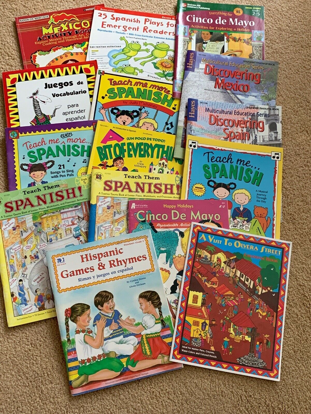 Spanish Childrens Books Lot Of 15 Curricular Materials