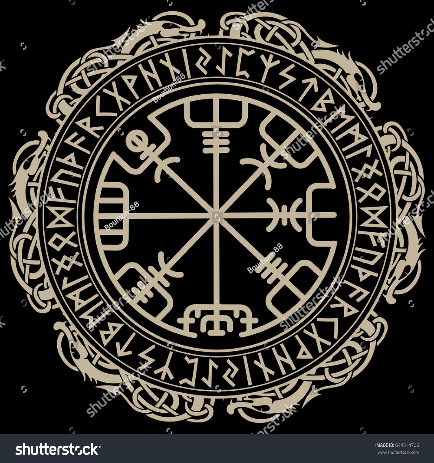 viking design magical runic compass vegvisir in the circle of norse runes and dragons vector. Black Bedroom Furniture Sets. Home Design Ideas