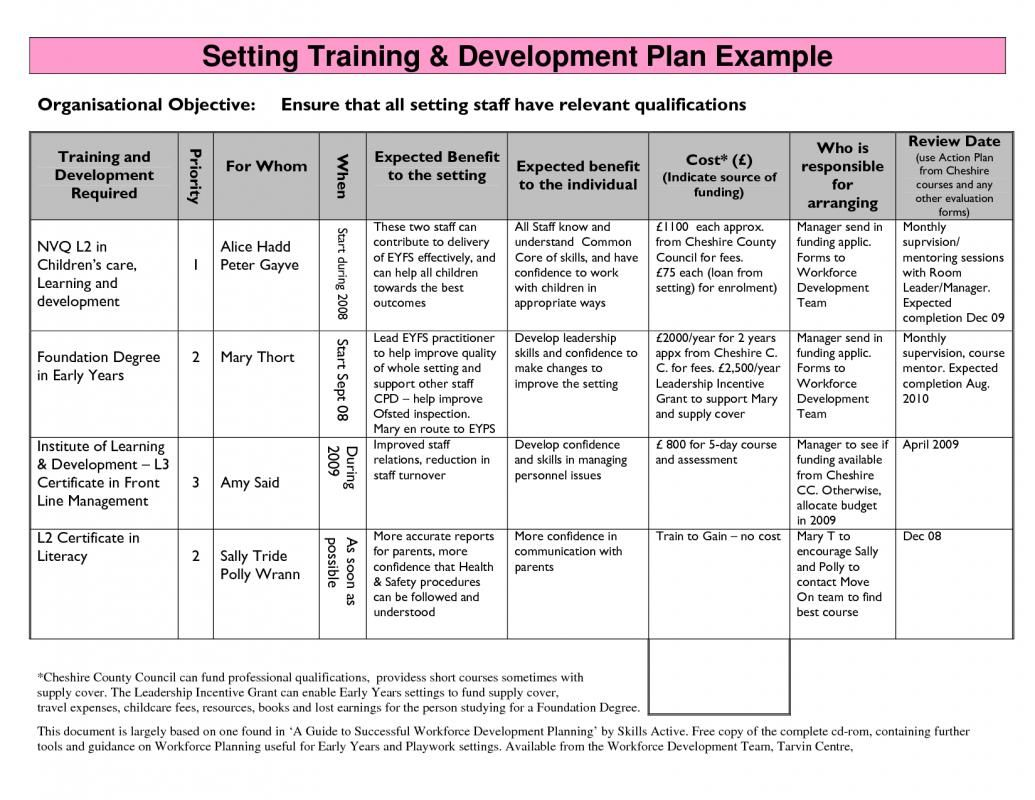 Employee Development Plans Templates Risk Management Plan